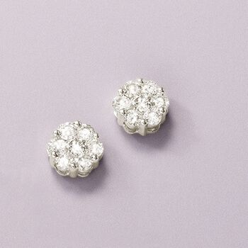 1.00 ct. t.w. Diamond Floral Cluster Stud Earrings in 14kt White Gold