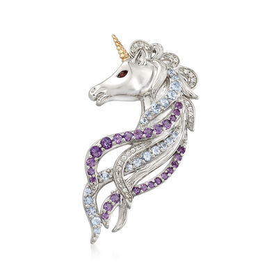1.30 ct. t.w. Multi-Stone Unicorn Pin Pendant in Sterling Silver and 14kt Gold, , default
