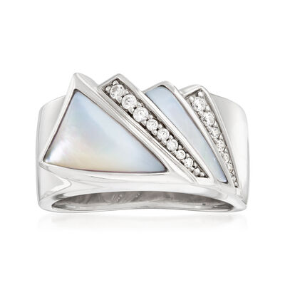 "Belle Etoile ""Empire"" Mother-Of-Pearl and .16 ct. t.w. CZ Ring in Sterling Silver"