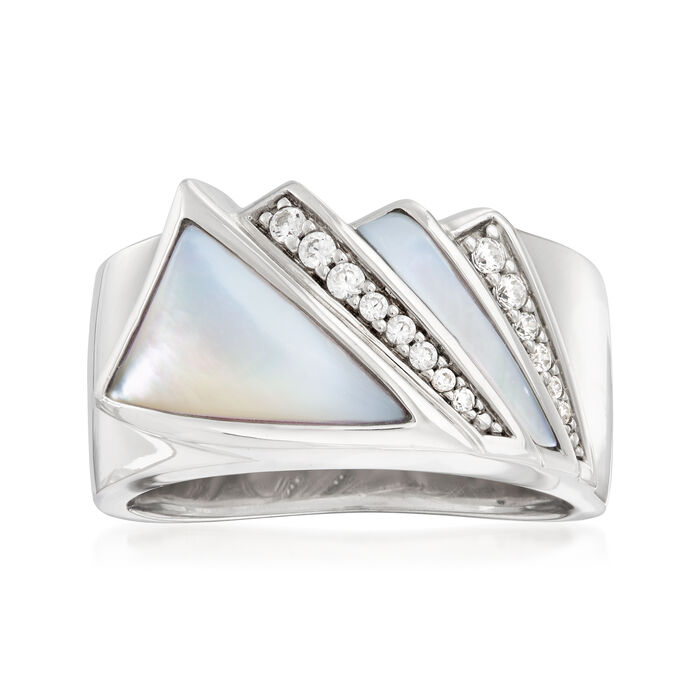 """Belle Etoile """"Empire"""" Mother-Of-Pearl and .16 ct. t.w. CZ Ring in Sterling Silver, , default"""