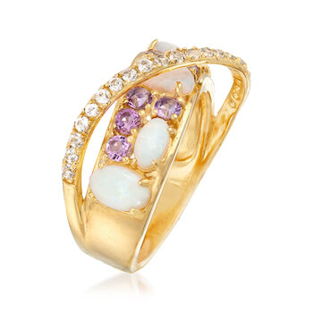 Opal and .50 ct. t.w. Multi-Stone Ring in 18kt Gold Over Sterling