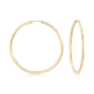 2.5mm 14kt Yellow Gold Endless Hoop Earrings, , default