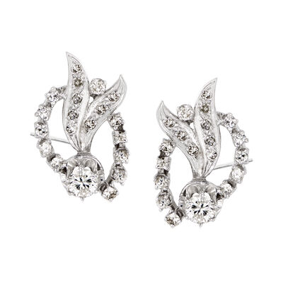 C. 1960 Vintage 1.60 ct. t.w. Diamond Circle and Bow Earrings in 14kt White Gold, , default