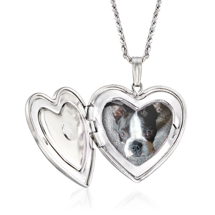 Paw Print Pet Memorial and Photo Locket Pendant Necklace in Sterling Silver