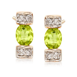 .60 ct. t.w. Peridot and .11 ct. t.w. Diamond Linear Drop Earrings in 14kt Yellow Gold, , default