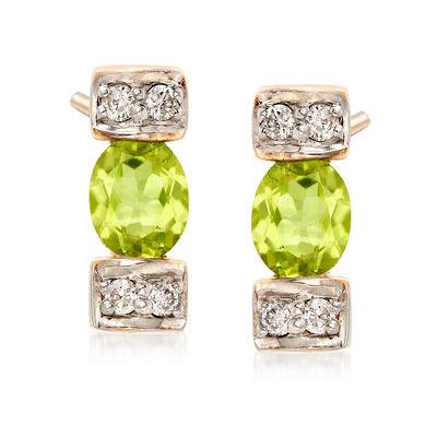 .60 ct. t.w. Peridot and .11 ct. t.w. Diamond Linear Drop Earrings in 14kt Yellow Gold, , default