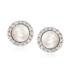 Set of Two Cultured Pearl Stud Earrings With 1.10 ct. t.w. CZ Earring Jackets in Sterling Silver, , default