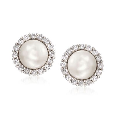 Cultured Pearl and 1.10 ct. t.w. CZ Jewelry Set:  Two Pairs of Earring Jackets in Sterling Silver, , default