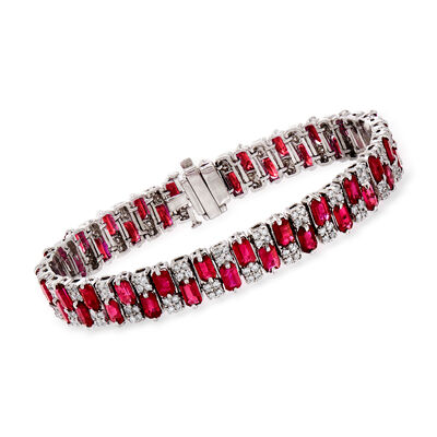 16.00 ct. t.w. Ruby and 1.95 ct. t.w. Diamond Tennis Bracelet in 14kt White Gold, , default