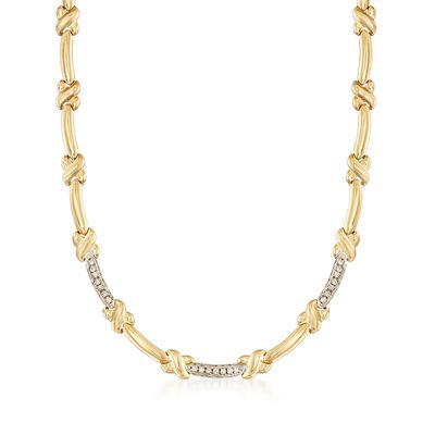 C. 1980 Vintage .60 ct. t.w. Diamond X Link Necklace in 14kt Yellow Gold with White Rhodium, , default