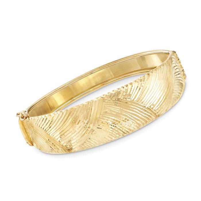 Italian 18kt Yellow Gold Fan Pattern Bangle Bracelet, , default
