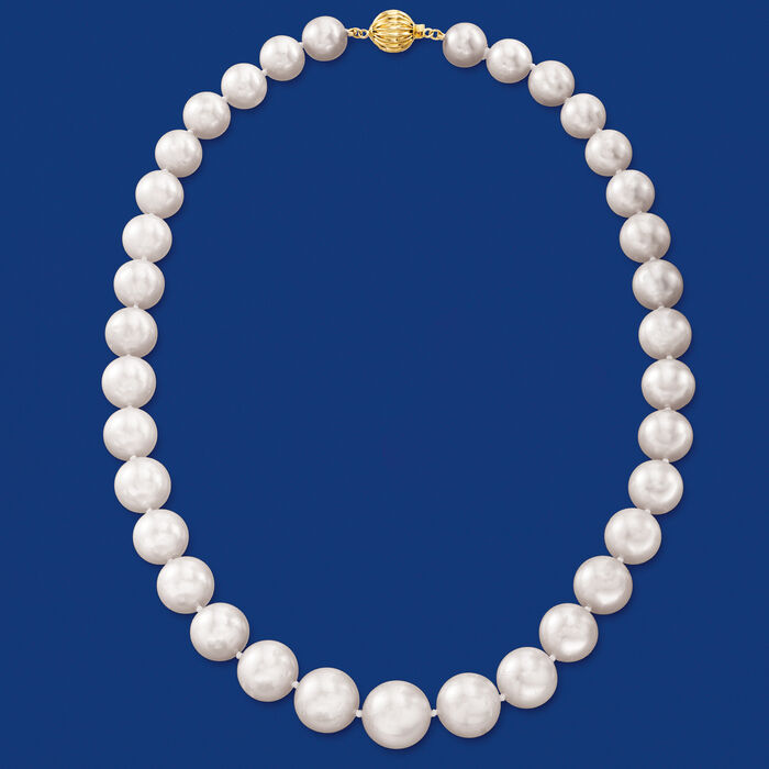 10-13mm Cultured South Sea Pearl Necklace with 14kt Yellow Gold