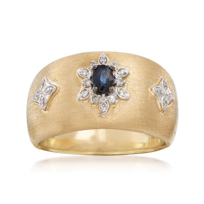 .20 Carat Sapphire and .10 ct. t.w. Diamond Ring in 14kt Yellow Gold, , default