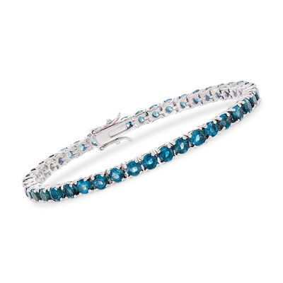 12.00 ct. t.w. London Blue Topaz Tennis Bracelet in Sterling Silver