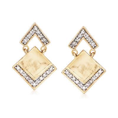 .25 ct. t.w. Pave Diamond Arrow Drop Earrings in 14kt Yellow Gold, , default