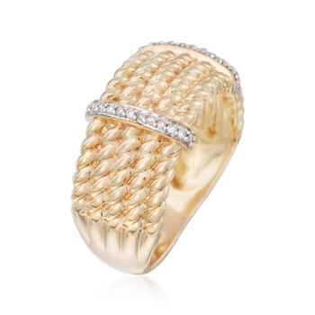 .10 ct. t.w. Diamond Roped Multi-Row Ring in 18kt Gold Over Sterling