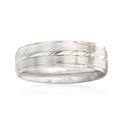 Men's 6.5mm 14kt White Gold Wedding Band