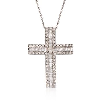 """1.08 ct. t.w. Baguette and Round Diamond Cross Necklace in Sterling Silver. 18"""", , default"""