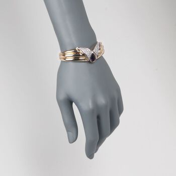 "C. 1980 Vintage 2.50 Carat Amethyst and 1.15 ct. t.w. Diamond Bangle Bracelet in 14kt Yellow Gold. 7"", , default"