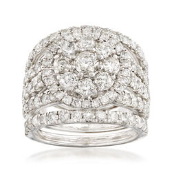 4.00 ct. t.w. Diamond Cluster Ring Set in 14kt White Gold, , default