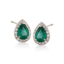 1.10 ct. t.w. Emerald and .20 ct. t.w. Diamond Earrings in 14kt White Gold, , default