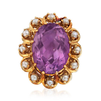 C. 1971 Vintage Cultured Pearl and 12.20 Carat Amethyst Ring in 14kt Yellow Gold  , , default