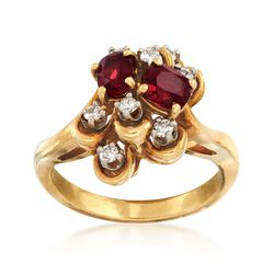 C. 1970 Vintage .90 ct. t.w. Ruby and .20 ct. t.w. Diamond Cluster Ring in 18kt Yellow Gold. Size 6.5, , default