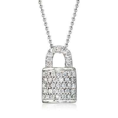 "Roberto Coin ""Tiny Treasures"" .45 ct. t.w. Diamond Padlock Necklace in 18kt White Gold, , default"