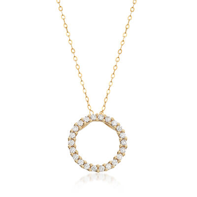 C. 1990 Vintage 75 ct. t.w. CZ Open Circle Pendant Necklace in 14kt Yellow Gold, , default
