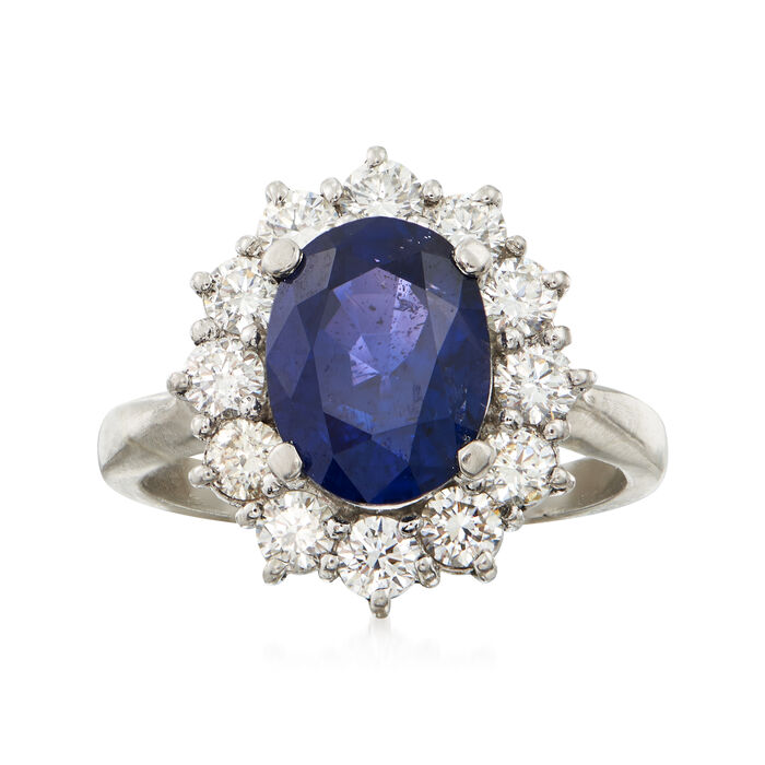 C. 1990 Vintage 3.06 Carat Sapphire and .90 ct. t.w. Diamond Ring in Platinum. Size 6, , default