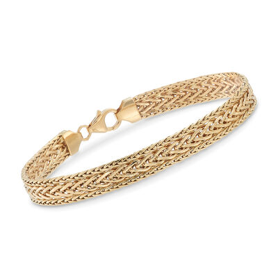 Italian 18kt Yellow Gold Three-Row Flat Wheat-Link Bracelet, , default