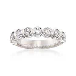1.00 ct. t.w. Bezel-Set Diamond Wedding Ring in 14kt White Gold, , default