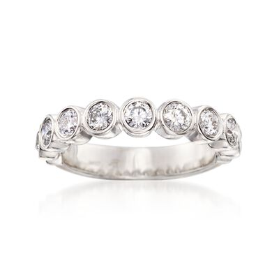 1.00 ct. t.w. Bezel-Set Diamond Wedding Ring in 14kt White Gold, , default