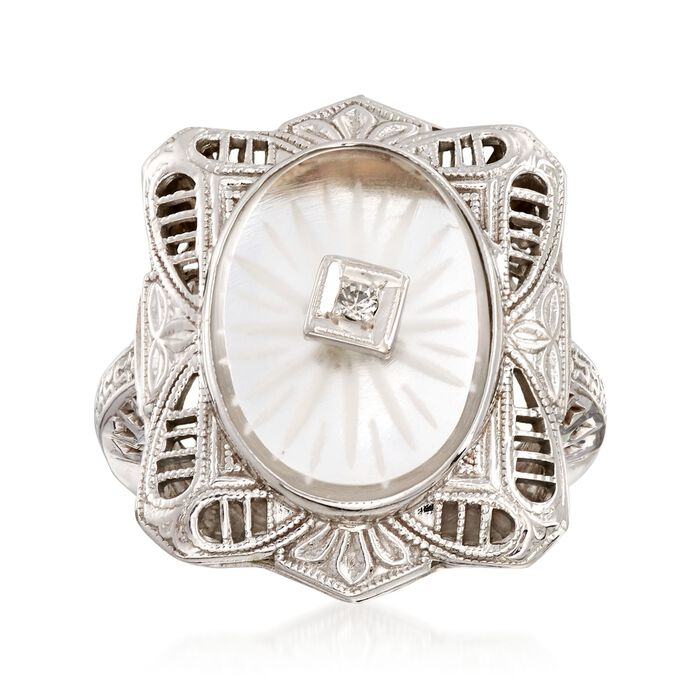C. 1950 Vintage Rock Crystal Filigree Ring with Diamond Accents in 14kt White Gold. Size 4