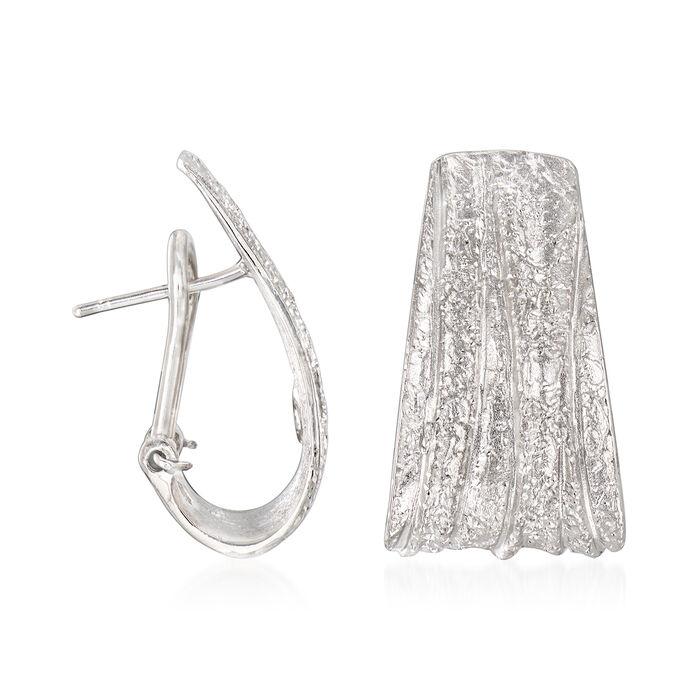 """Charles Garnier """"Constellation"""" Sterling Silver Pleated J-Hoop Earrings"""