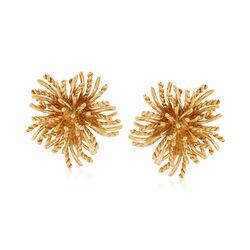 C. 1970 Vintage Tiffany Jewelry 18kt Yellow Gold Sunburst Clip-On Earrings , , default
