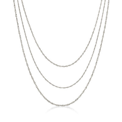 Italian Sterling Silver Three-Strand Singapore Chain Layered Necklace, , default