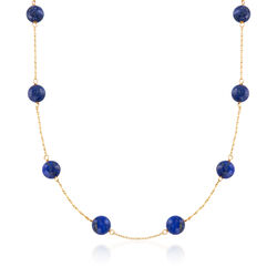 8mm Blue Lapis Bead Station Necklace in 14kt Yellow Gold, , default