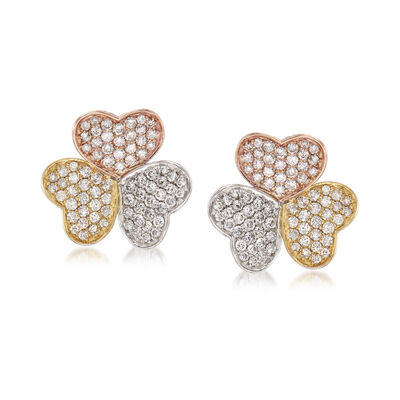 1.74 ct. t.w. Diamond Heart Earrings in 18kt Tri-Colored Gold