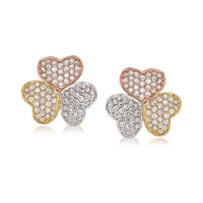 1.74 ct. t.w. Diamond Heart Earrings in 18kt Tri-Colored Gold, , default
