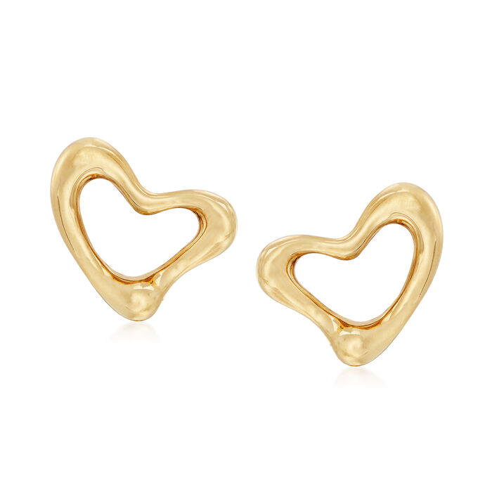 "C. 1990 Vintage Tiffany Jewelry ""Elsa Peretti"" 18kt Yellow Gold Heart Clip-On Earrings, , default"