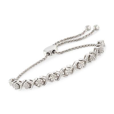 .50 ct. t.w. Diamond Cluster Bolo Bracelet in Sterling Silver, , default