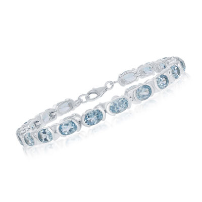 17.00 ct. t.w. Blue Topaz Bracelet in Sterling Silver, , default