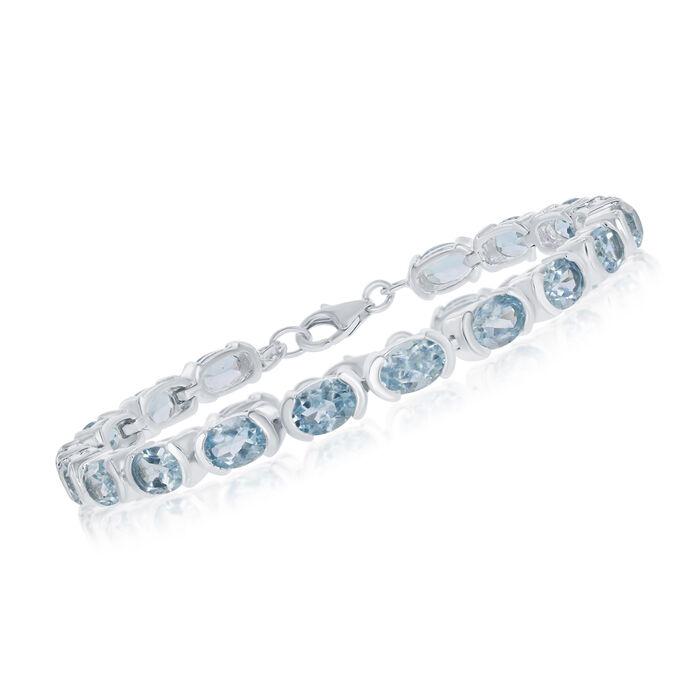 """17.00 ct. t.w. Blue Topaz Bracelet in Sterling Silver. 7.25"""", , default"""