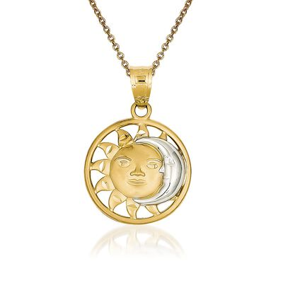 14kt Yellow Gold Sun and Moon Pendant Necklace, , default