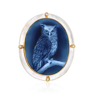C. 1980 Vintage Blue Agate, Mother-Of-Pearl and Diamond-Accented Owl Cameo Pin/Pendant in 18kt Yellow Gold