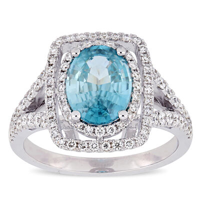 2.34 Carat Blue Zircon and .63 ct. t.w. Diamond Double-Halo Engagement Ring in 14kt White Gold