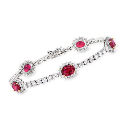 6.75 ct. t.w. Simulated Ruby and 2.74 ct. t.w. CZ Bracelet in Sterling Silver