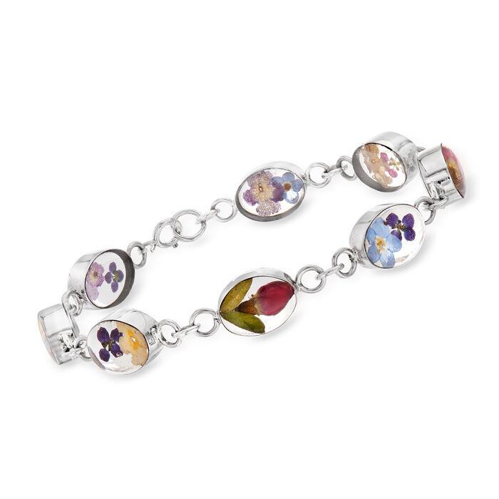 Dried Flower Link Bracelet in Sterling Silver