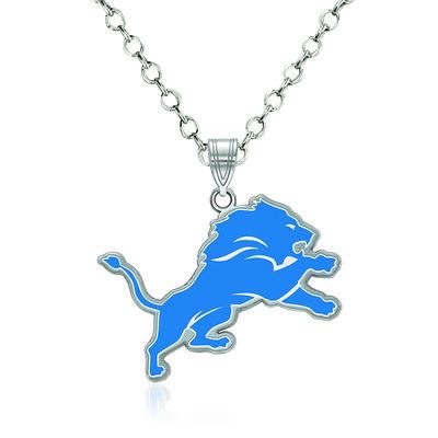 """Sterling Silver NFL Detroit Lions Enamel Pendant Necklace. 18"""""""